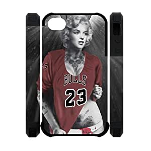 Marilyn Monroe with Chicago Bulls Michael Jordan shirt Case Cover for iPhone 4 4s