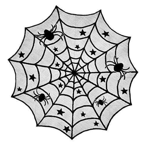 NewKelly Halloween Spider Round Web Tablecloth Topper Covers Fireplace Table Party Decor -