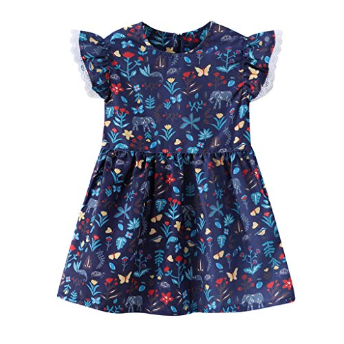 Children's Vintage O-Neck Flying Sleeve Lace Ruffle Flower Print Princess Dress Casual Cute Dress A-Line Skirt(Blue,110)