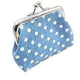 Buedvo Women Purse Retro Dot Print Wallet Card Holder Coin Purse Clutch Handbag (3.55''X2.75'', Light Blue)