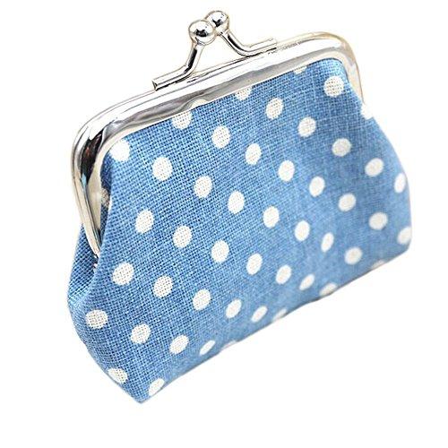 "Buedvo Women Purse Retro Dot Print Wallet Card Holder Coin Purse Clutch Handbag (3.55""X2.75"", Light Blue)"