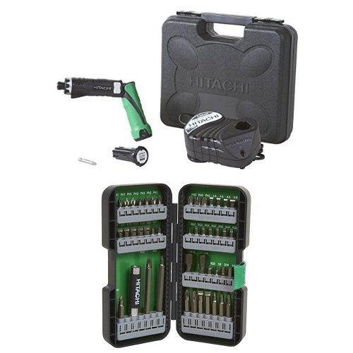 Hitachi DB3DL2 3.6V Lithium Ion Dual-Position Cordless Screwdriver (1.5Ah) and Impact Driver Bit Set (45 Piece)