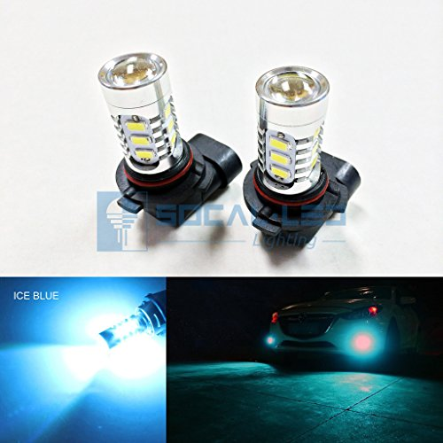 Hid Projector Fog Lights - SOCAL-LED 2x H10 9145 LED Fog Light Bulb 15W SMD 5730 12V High Power Bright DRL Bulbs, Ice Blue (Teal)