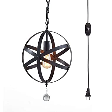 TZOE Plug in Pendant Light,Industrial Style Globe Pendant Lighting,16.4 Ft Hanging Cord,Dimmable On/Off Switch,Black Metal,Vintage Chandelier,Island Lights Ceiling Light Fixture,UL Listed