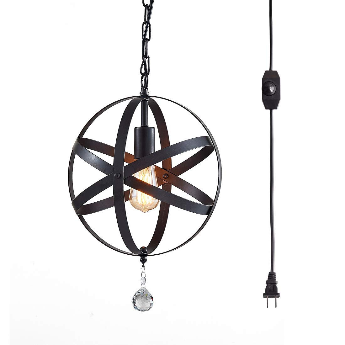 Plug in Pendant Light,Industrial Style Globe Pendant Lighting,16.4 Ft Hanging Cord,Dimmable On/Off Switch,Black Metal,Vintage Chandelier,Island Lights Ceiling Light Fixture,UL Listed by TZOE
