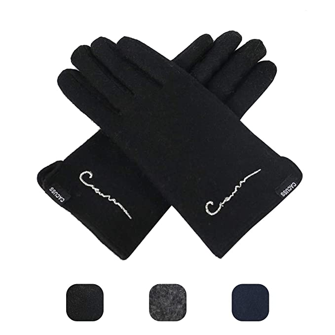 d4f291547 CACUSS Men's Winter Wool Knit Gloves Touchscreen Texting Finger Tips with  Warm Fleece Lining (Black