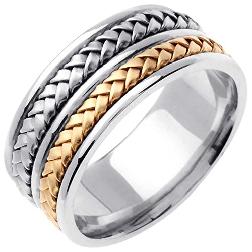 Two Tone Platinum and 18K Yellow Gold Braided Basket Weave Men's Wedding Band (9mm) Size-15.5c2