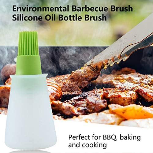 Greatangle Brosse de Bouteille d'huile de Silicone Brosse de Barbecue Outils Ustensiles de Cuisine Pratiques Brosse écologique Protection de l'environnement Vert