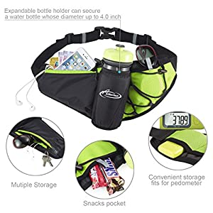 Fanny Pack AIHOLES Waist Pack with Water Bottle Holder Waterproof Running Belt Fits iPhone 7/6S Plus Galaxy S6 S7 Note 6/7 Reflective Water Bottle Pack for Running Hiking Travel Activities-Green