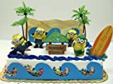 Despicable Me Banana Bar Beach Scene Minion Birthday Cake Topper Set with Minions and Decorative Beach Accessories, Baby & Kids Zone