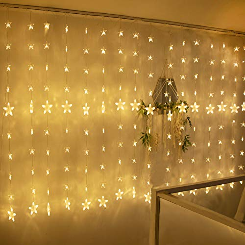 TOFU 80 Stars 144 LED Curtain String Lights, Window Curtain Lights with 8 Flashing Modes & Remote Control, Decoration for Christmas, Wedding, Party, Home, Bedroom, Patio Lawn, Warm White (Christmas Lights Tips Hanging)
