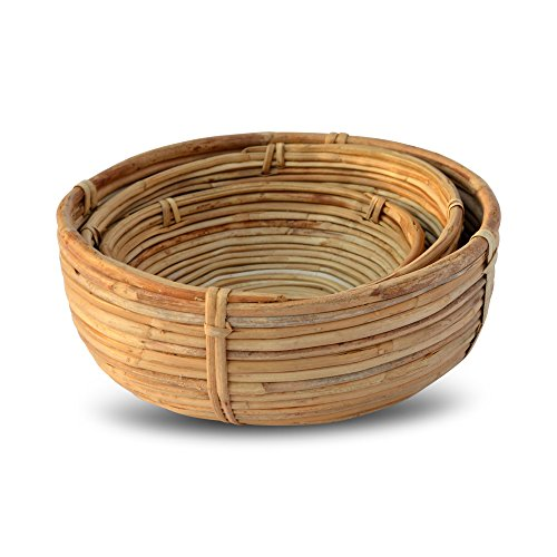 Whole House Worlds Naturally Modern Baskets, Set of 3, Bowl Shaped, Rustic Natural,Woven Palm Cane, Stitched and Ribbed Details, 9 3/4, 8 1/4, and 6 3/4 Inches in Diameter, By WHW by Whole House Worlds (Image #2)