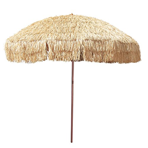 8' Hula Umbrella Thatched Tiki Patio Umbrella Natural Color 8 Foot Diameter Tropical Look Aluminum Pole 16 Fiberglass Ribs -