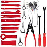 QISF 37Pcs Car Trim Removal Tool Set, Auto Door Panel Upholstery Trim and Molding Fastener Removal Tool Kit for Dash Audio Radio Installation and Remover with Terminal Removal Tools