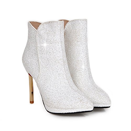 Boots Girls Sequins Zipper Stiletto Solid White BalaMasa 87aqf