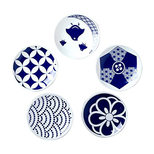 Colias Wing Vintage Style Checks/Flowers Pattern Design Multipurpose Porcelain Side Dish Bowl Seasoning Dishes Soy Dipping Sauce Dishes-Blue-Set of (Adorable Vintage Porcelain)