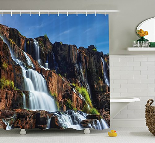 Rainforest Decorations Shower Curtain Set by Ambesonne, Pongour Waterfall Exotic Asian Natural Beauty Landscape Mountain Rocks Print, Bathroom Accessories, 84 Inches Extralong, White Blue