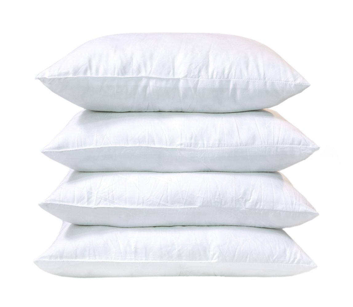Emolli Throw Pillows Insert Premium Hypoallergenic Stuffer Pillow Insert, Super Soft Microfiber Filled Throw Pillows Cushion,18'' L X 18'' W, 4 Pack,White