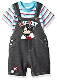 Disney Baby Boys' 2 Piece Mickey Mouse Shortall Set, Grey, 12m