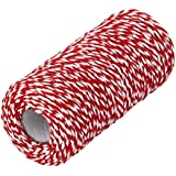 ROSENICE Cotton Bakers 100m Twine String Cord Glass Bottle Gift Box Decor Craft Red White
