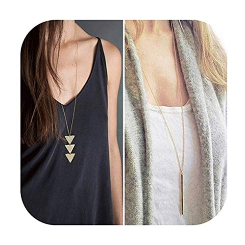 Defiro Y Layer Simple Bar Pendant Necklace Center Long Lariat Chain For Women Jewelry