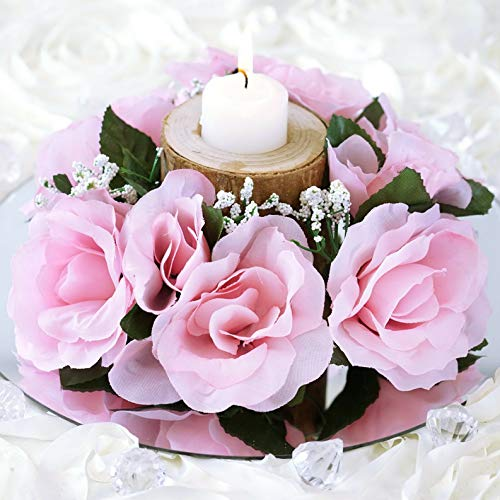 Mikash 8 pcs Silk Roses Flowers Candle Rings