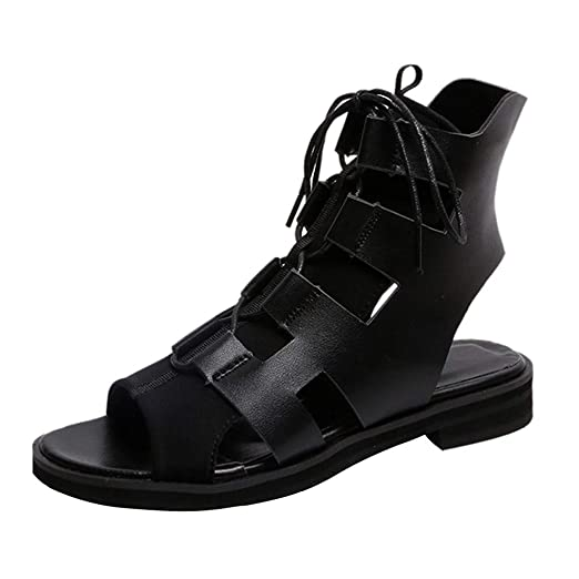 ee4d9e33d Amazon.com: Dressin Women Boho Shoes,Summer Solid Color Peep Toes Drawsting Flats  Low Block Heel Ankle Sandals for Women: Clothing