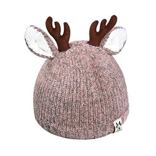 Cute Reindeer Antlers Baby Beanie Soft Warm Crochet Knitted Hat for Toddler Girls Boys ()