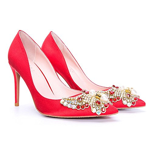 L@YC® Mujer Tacones Altos Finos Con Diamante 8cm Satin Pointed Sandals Oficina De Baile Red