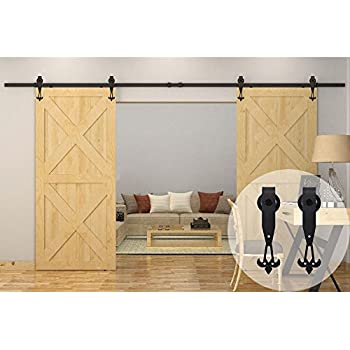 Amazon Com Winsoon 7 5ft 90 Inch Industrial Barn Door Hardware Kit Inside Sliding Iron Track For Double Doors Black New W Style Home Improvement