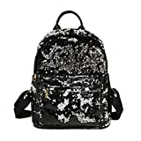 Girls Backpacks,Chartsea Girls Fashion School Style Sequins Travel Satchel School Bag Backpack Bag (Black)