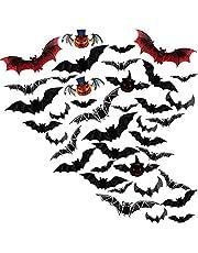 Halloween-decor, Halloween-decoratie, Halloween-decoratie kinderfeestje, 3D-vleermuizen muurstickers Geschikt voor raam Kinderkamerdecoratie en Halloween-feest