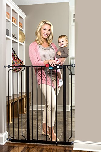 Regalo Easy Step Extra Tall Walk Thru Baby Gate, Bonus Kit, Includes 4-Inch Extension Kit, 4 Pack of Pressure Mount Kit and 4 Pack of Wall Cups and Mounting Kit, Black ()