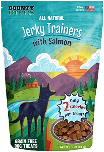 Bounty Bites Jerky Trainers with Salmon – Soft USA Made Whole Food Benefit Meaty Low Calorie Training Treats