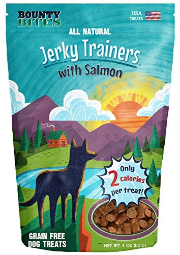 Bounty Bites Jerky Trainers with Salmon - Soft USA Made Whole Food Benefit Meaty Low Calorie Training Treats