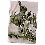 3D Rose Cute Bunnies Animal Art Rabbits Towel, 15'' x 22''