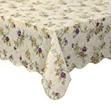 Artisan Flair AF4760-028 Scalloped Edged Vintage Flower Flannel Backed Vinyl Kicthen Table Cover-47''x 60''