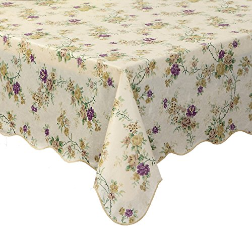 Polyester Lined Vinyl Cover (Artisan Flair AF6090-028 Scalloped Edged Vintage Flower Flannel Backed Vinyl Kicthen Table Cover-60
