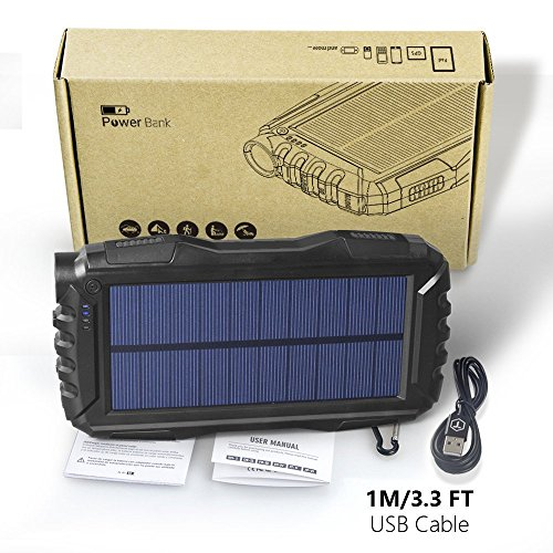 AttoPro 25000mAh Portale Solar strength Bank Shockproof Dustproof 21A USB outcome Battery Bank Outdoor Solar Charger contact External Battery by suggests of  effective LED light form for iPad iPhone Android cellphones External Battery Packs