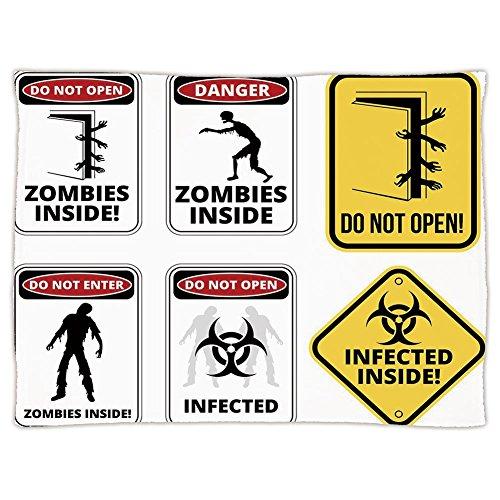 iPrint Super Soft Throw Blanket Custom Design Cozy Fleece Blanket,Zombie Decor,Warning Signs for Evil Creatures Paranormal Construction Do Not Open Artwork,Multicolor,Perfect for Couch Sofa or Bed by iPrint
