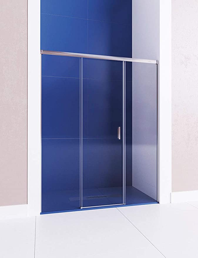Mampara de ducha frontal de 2 hojas fijas y 1 puerta corredera ...