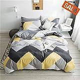 VCLIFE Cotton Bedding Sets Gray Yellow Black Geometric Print Design (1 Duvet Cover + 2 Pillowcases) - Zipper Closure, 4 Corner Ties, Twin