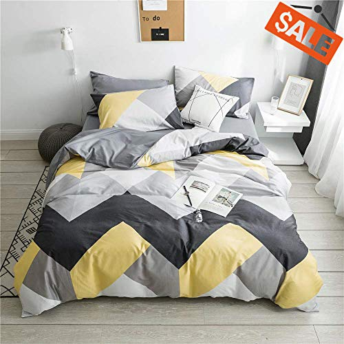 VCLIFE Cotton Bedding Sets Gray Yellow Black Geometric Print Design (1 Duvet Cover + 2 Pillowcases) - Zipper Closure, 4 Corner Ties, Queen (Duvet Cover Yellow Grey And)