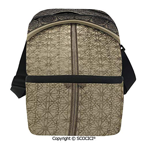 (SCOCICI Collapsible Cooler Bag Aged Gate Geometric Pattern Doorway Design Entrance Architectural Oriental Style Insulated Soft Lunch Leakproof Cooler Bag for Camping,Picnic,BBQ)