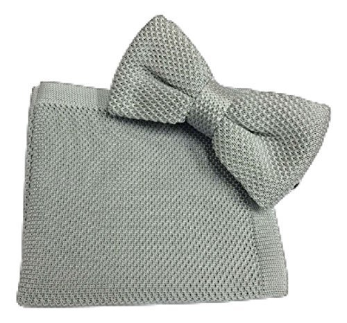 Knitted L Square Hanky Silver Tie Knit amp;L® Bow Set Pocket Handkerchief Knitting UK Men's ttnq1HfR
