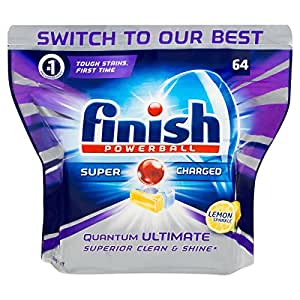 Finish Powerball Quantum Ultimate Dishwasher Tablets Superior Clean Lemon 64 Pack