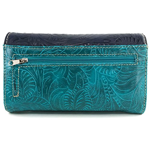 Feathers Stone Tooled Studs Turquoise Turquoise Handbag Concho Wallet Only Western Purse Concealed Justin West Carry x0qE5YwgYI