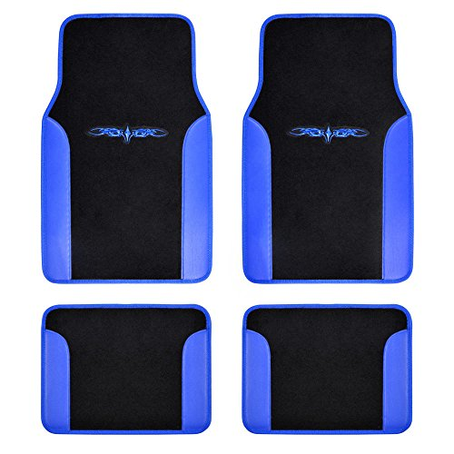 BDK A Set of 4 Universal Fit Plush Carpet with Vinyl Trim Floor Mats For Cars / Trucks - Tattoo Blue - Floor Vinyl Front Cover
