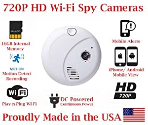 secureguard 720p hd wi fi wireless ip smoke detector hidden security nanny cam spy camera with. Black Bedroom Furniture Sets. Home Design Ideas