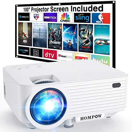 Video Projector, Native 720P Portable Mini Projector with 100″ Projector Screen, 1080P Supported Outdoor Movie Projector Compatible with TV Stick/HDMI/VGA/USB/TV Box/Laptop/DVD/PS4 for Home